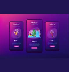 Winter outdoor fun app interface template vector
