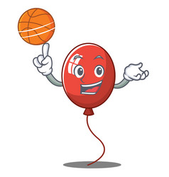 with basketball balloon character cartoon style vector image