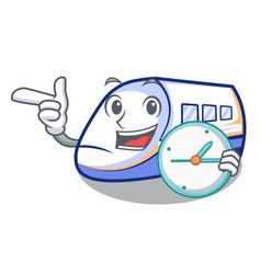with clock shinkansen train transportation in vector image