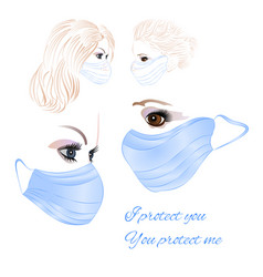 Women in protective medical face masks wearing vector