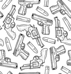doodle guns pattern seamless vector image