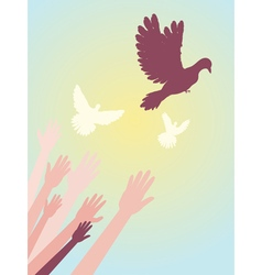 Dove and Hands5 vector image