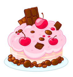 icon cartoon delicious sponge cake with chocolate vector image vector image