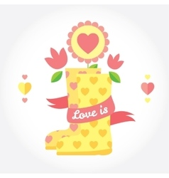 Love is cute picture with boots flowers and vector image