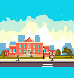 school building and children vector image