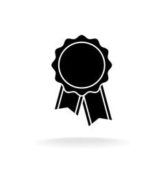 Simple black award badge silhouette logo vector image
