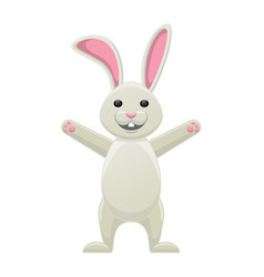 smiling white bunny with stretched paws isolated vector image vector image