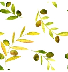 watercolor seamless pattern with olives vector image vector image