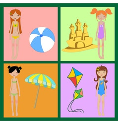 beach girl summer background vector image vector image