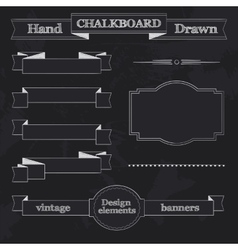 Chalkboard style banners ribbons and frames vector