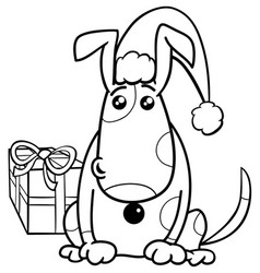 puppy on christmas coloring book vector image vector image