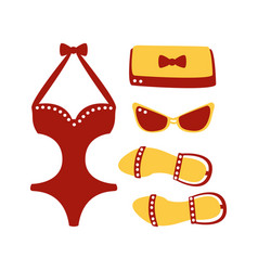 swimsuit glasses bag sandal women beach vector image vector image