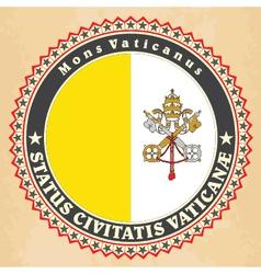 Vintage label cards of Vatican City flag vector image