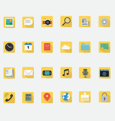 application icons flat design in smart phone vector image