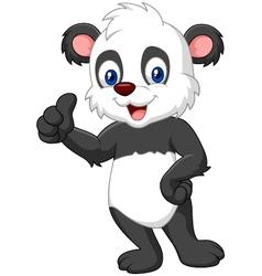 Cartoon panda giving thumb up vector image vector image