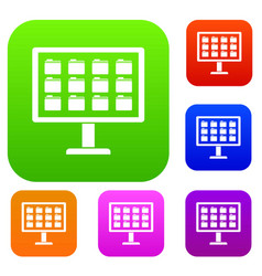 desktop of computer with folders set collection vector image vector image