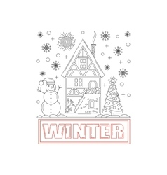 Detailed winter house on snowy background vector image