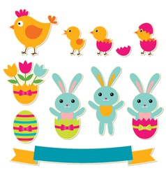 easter stickers set vector image vector image
