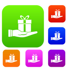 gift box in hand set collection vector image vector image