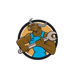 Mechanic Minotaur Bull Spanner Circle Cartoon vector image vector image