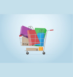 shopping cart full of boxes and bags flat design vector image