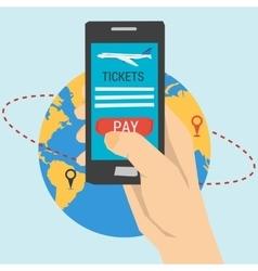Booking online flights travel vector image