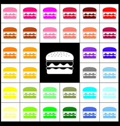 burger simple sign felt-pen 33 colorful vector image vector image