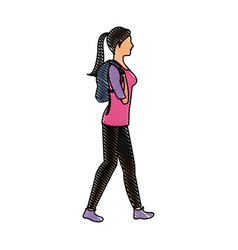 drawing character woman walking with package vector image vector image