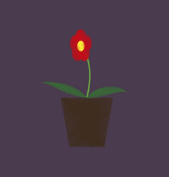 flat shading style icon flower in a pot vector image