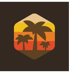 Island palm holiday at sunset vector image