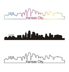 Kansas City skyline linear style with rainbow vector image vector image