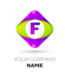Letter f logo symbol in colorful rhombus vector