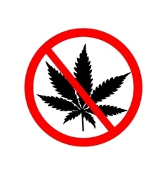 Prohibition sign with marijuana leaf vector image