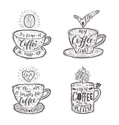 set of quotes for coffee on a cup vector image vector image