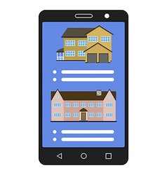 Smartphone with realty app House sale vector image