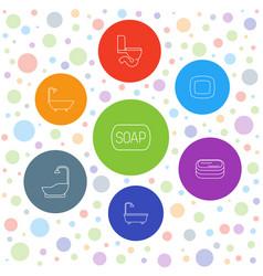 7 bath icons vector