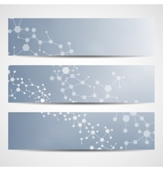 Abstract geometric banners molecule and vector image