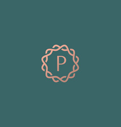 Abstract linear monogram letter p logo icon design vector