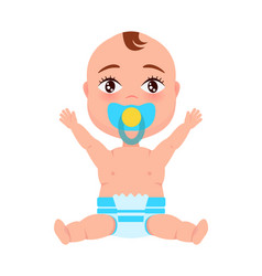 Baby infant in diaper pacifier at mouth stretches vector