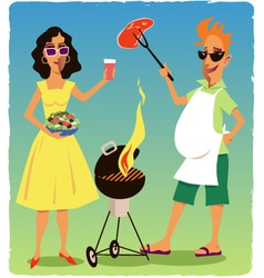 Barbecuing couple vector