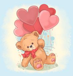 bear tedy holds a heart love balloons vector image