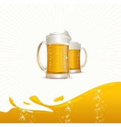 Beer mugs on white vector image