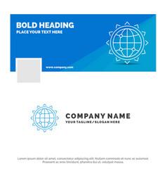 Blue business logo template for world globe seo vector