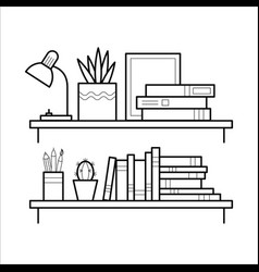 Bookshelf in thin line style vector