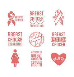 Breast cancer awareness month promotional pink vector