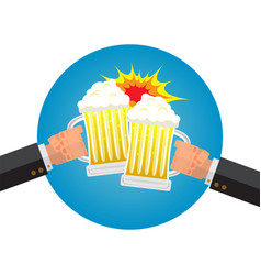 Businessman hangover with beer on friday night vector