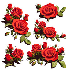 cards with red roses on white background vector image