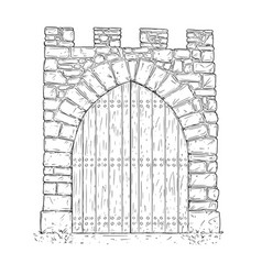 Cartoon of stone medieval decision gate closed by vector