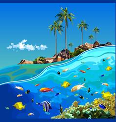 Cartoon underwater world near a tropical island vector