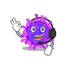 Charming alpha coronavirus wearing headphone vector